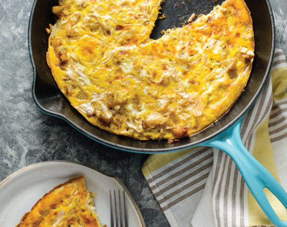 sauerkraut frittata in a cast iron pan