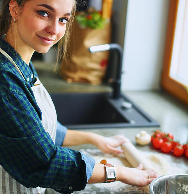 teenager cooking