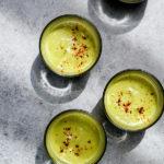 zucchini avocado soup in cups