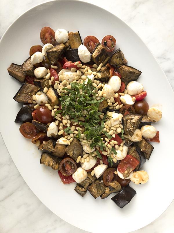 eggplant tomato pepper mozzarella salad
