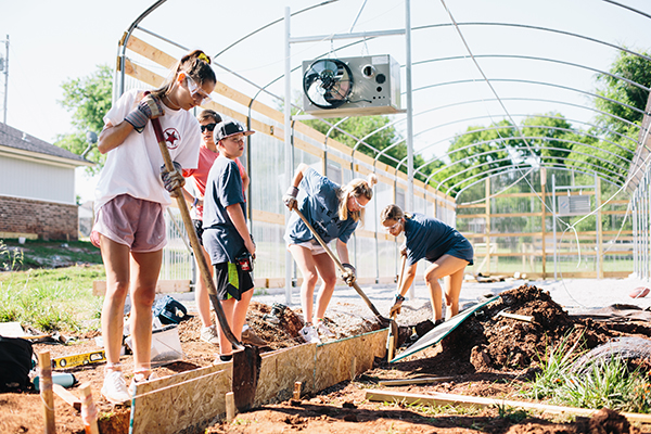 young people working at freedom farms