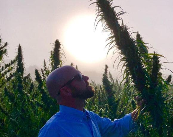 Jason Victoria with hemp plant