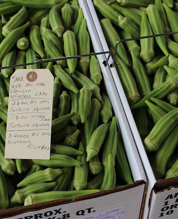 Okra in a box at Amish farmers market