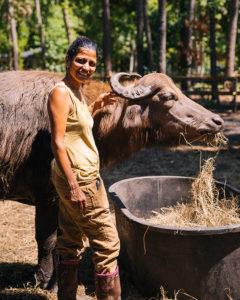 punita patel with water buffalo
