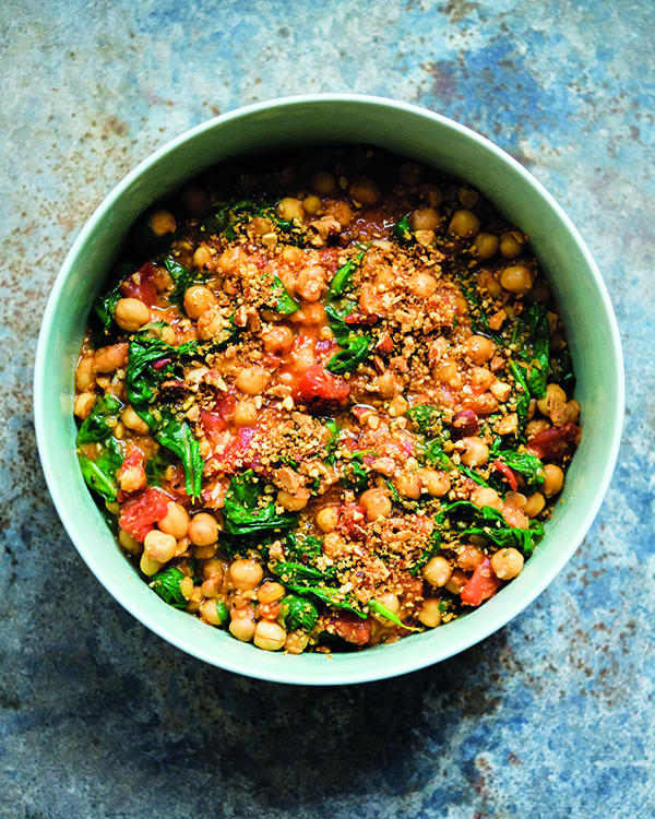 braised chickpeas with spinach and smoked paprika