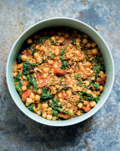 braised chick peas with spinach