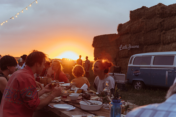 dinner at dusk at Casey Bailey farm