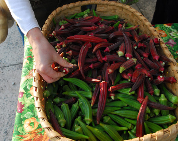 basket of okra at farmers market