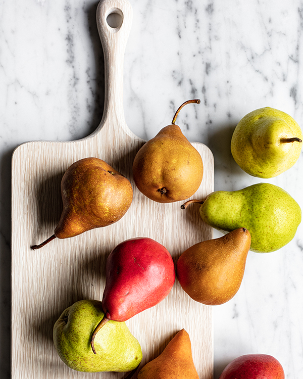 pears on a cutting board