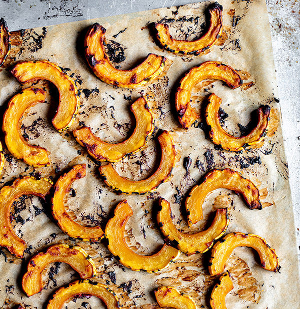 roasted delicata squash with miso chili butter
