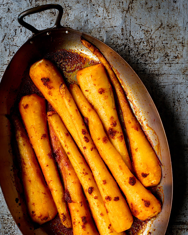 roasted parsnips with harissa