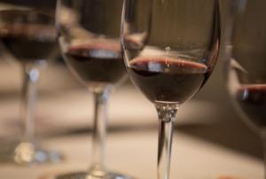 Charleston food and wine glasses