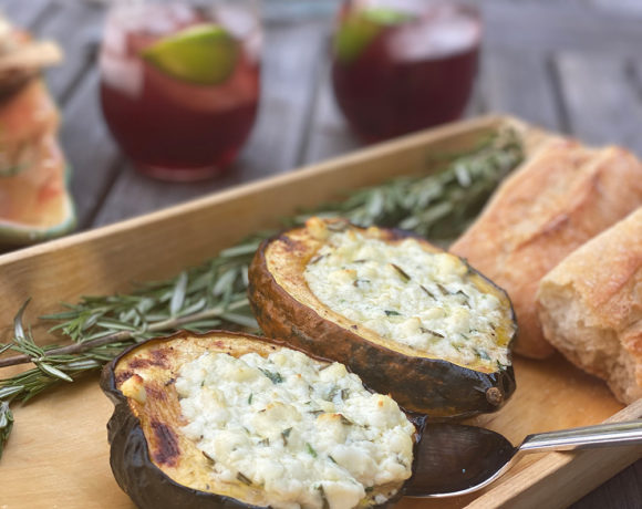 Acorn squash stuffed with rosemary goat cheese