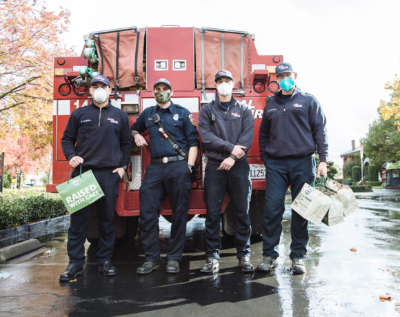 First responders from CalFire pick up donated meals during 2020 California wildfires