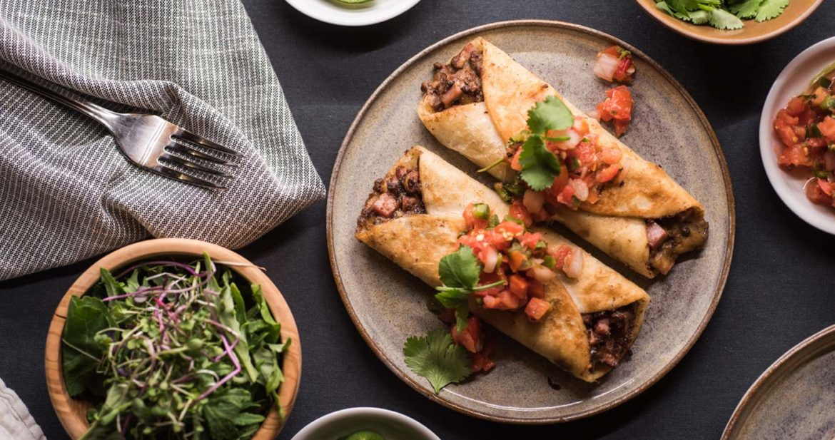Ham and Black Bean Flautas made with leftover ham