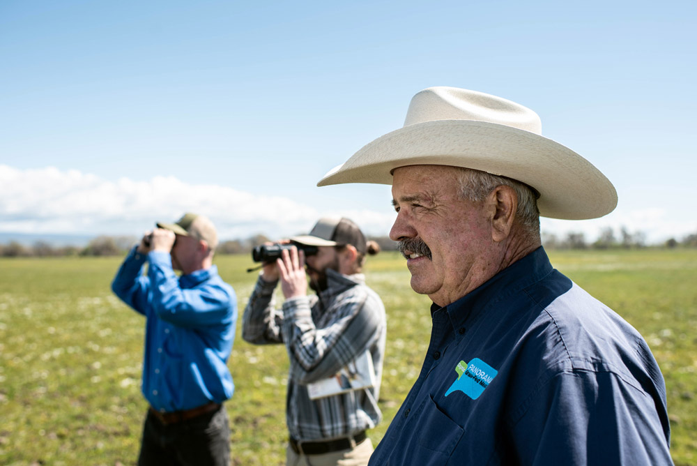 Panorama Organics rancher, Darrell Wood, with rangeland biologists from Audubon