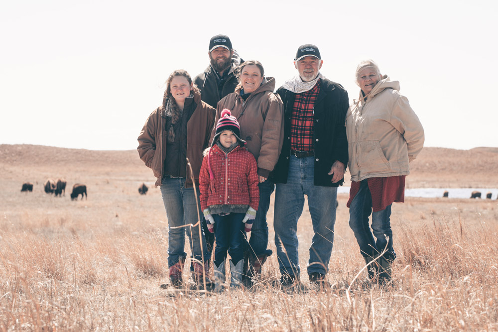 Family of ranchers with Panorama Organics network of ranchers