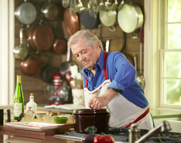 Chef Jacques Pépin cooking in kitchen